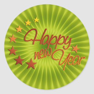 HAPPY NEW YEAR with starlight + your background Classic Round Sticker