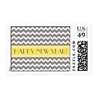 Happy New Year Yellow Gray Chevron Postage Stamps
