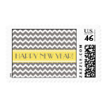 Happy New Year Yellow Gray Chevron Postage Stamps