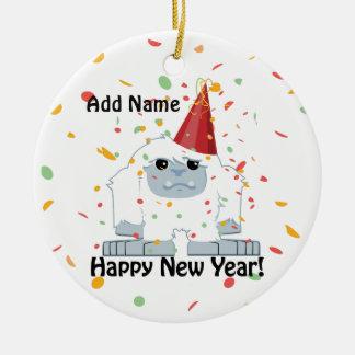 Happy New Year Yeti Ceramic Ornament