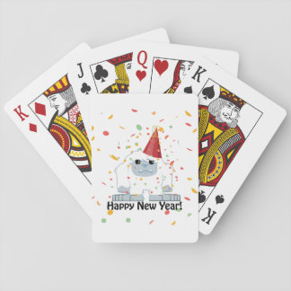 Happy New Year Yeti Playing Cards