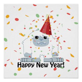 Happy New Year Yeti Poster