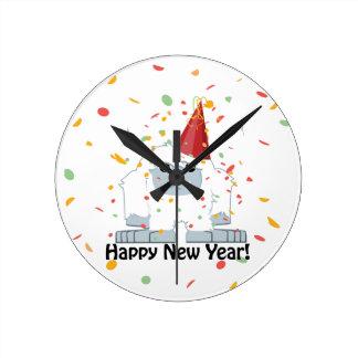 Happy New Year Yeti Round Clock