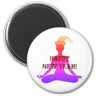 Happy New Year Yoga Meditation Lady Magnet