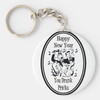 Happy New Year You Drunk Pricks B&W Basic Round Button Keychain