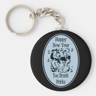 Happy New Year You Drunk Pricks Blue Basic Round Button Keychain