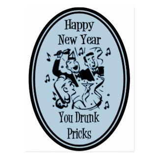 Happy New Year You Drunk Pricks Blue Postcard