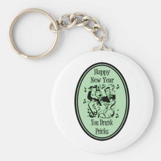 Happy New Year You Drunk Pricks Green Basic Round Button Keychain