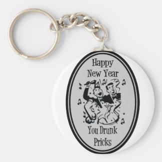 Happy New Year You Drunk Pricks- Grey Basic Round Button Keychain