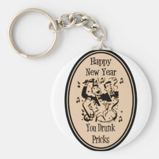 Happy New Year You Drunk Pricks Orange Basic Round Button Keychain