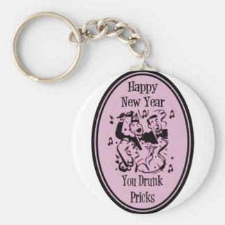 Happy New Year You Drunk Pricks Pink Basic Round Button Keychain