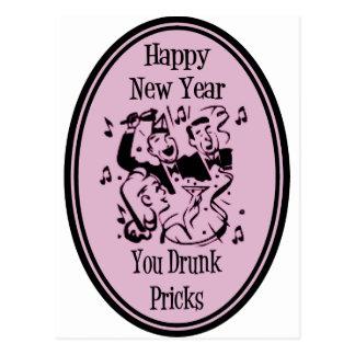 Happy New Year You Drunk Pricks Pink Postcard