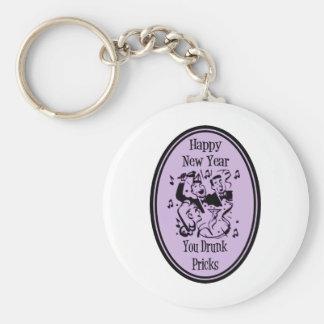 Happy New Year You Drunk Pricks Purple Basic Round Button Keychain