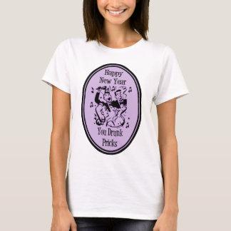 Happy New Year You Drunk Pricks Purple T-Shirt