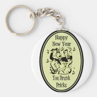 Happy New Year You Drunk Pricks Yellow Basic Round Button Keychain