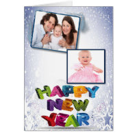 Happy New Year's Add Your Two Photos Greeting Card