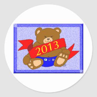 Happy New Year's Bear - 2013 Classic Round Sticker