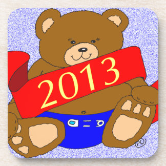 Happy New Year's Bear - 2013 Drink Coaster