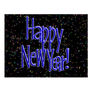 Happy New Years Blue Text Postcards