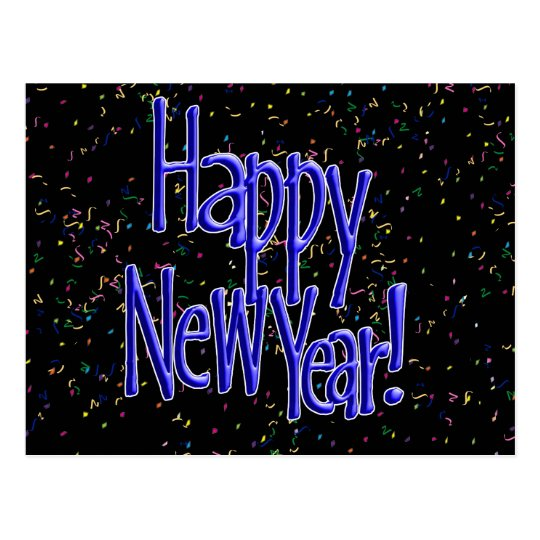 Happy New Years Blue Text Postcard