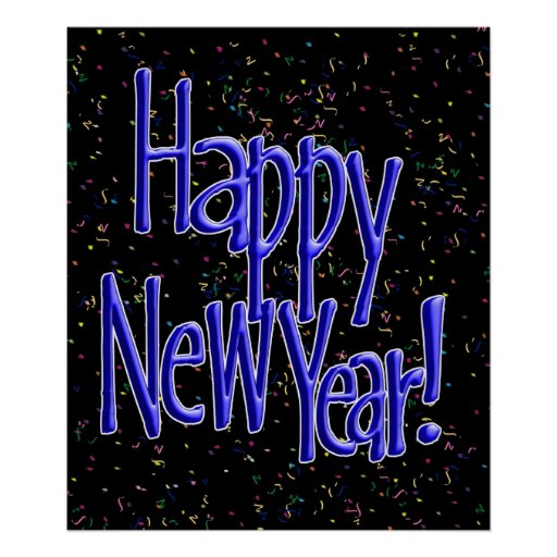 Happy New Years Blue Text Posters