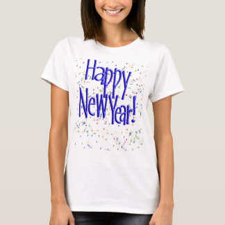 Happy New Years Blue Text T-Shirt