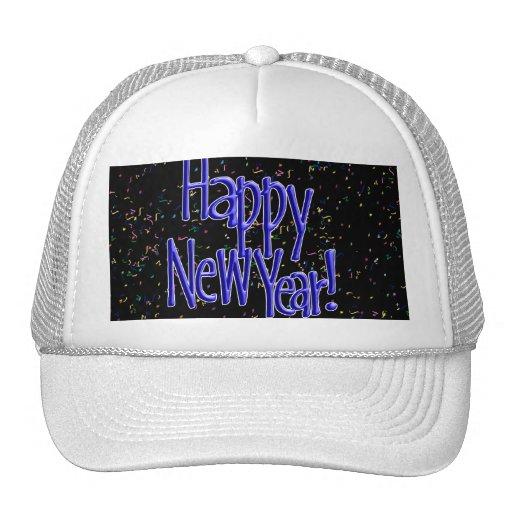 Happy New Years Blue Text Trucker Hats
