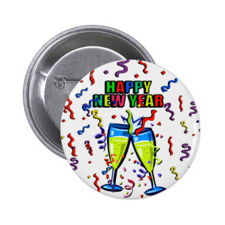 Happy New Year's Day_ Button_by Elenne Pinback Button