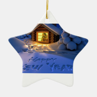 Happy New Years Eve! Double-Sided Star Ceramic Christmas Ornament