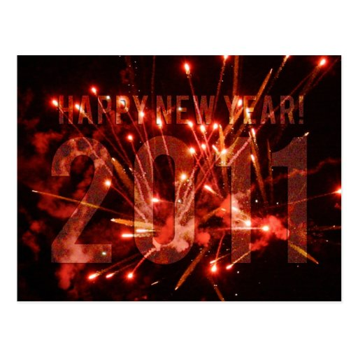 Happy New Years Fireworks 2011 Post Card
