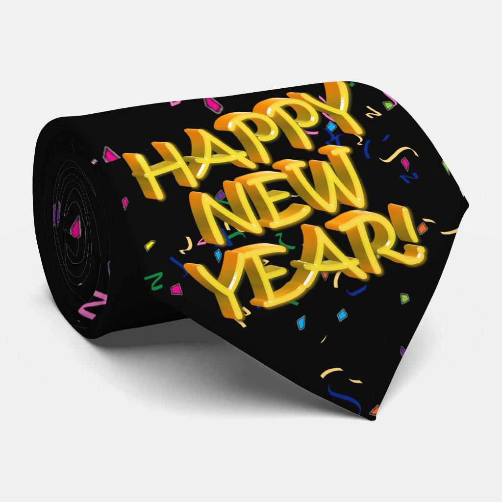 Happy New Years Glassy Yellow Text Tie