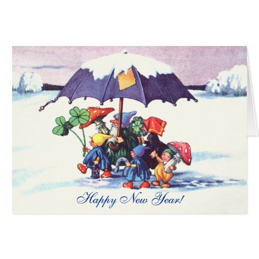 Happy New Year's Gnomes Greeting Card