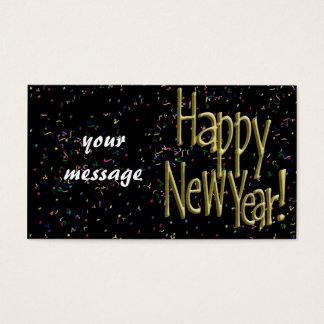 Happy New Years Gold Text Business Card