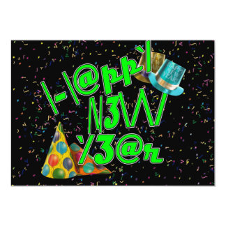 Happy New Years LEET (neon green) Personalized Announcements