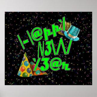 Happy New Years LEET (neon green) Posters
