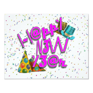 Happy New Years LEET with Confetti Custom Announcement