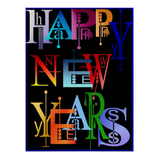 HAPPY NEW YEARS Poster black