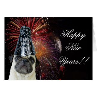 Happy New Years pug note card