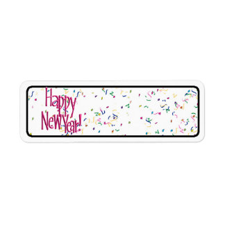 Happy New Years Red Text Return Address Label