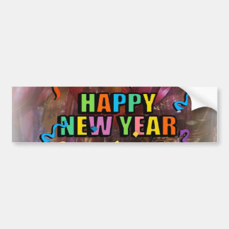 Happy New Years Steamers And Bell Decorations Bump Car Bumper Sticker