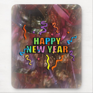 Happy New Years Steamers And Bell Decorations Mous Mousepad