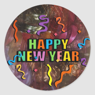 Happy New Years Steamers And Bell Decorations Stic Classic Round Sticker