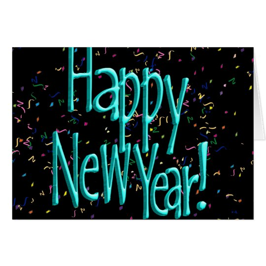 Happy New Years Text Turquoise Card