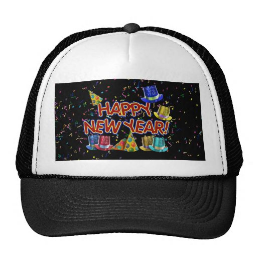 Happy New Years Text w/Party Hats & Confetti Trucker Hat