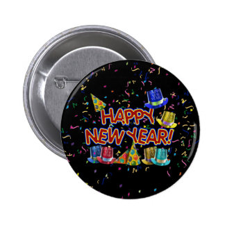 Happy New Years Text w/Party Hats & Confetti Pinback Button