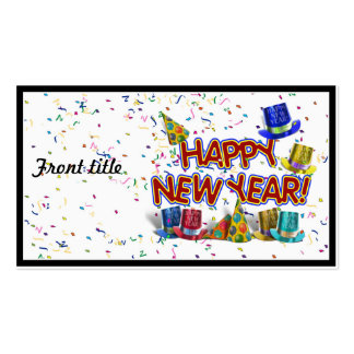 Happy New Years Text w/Party Hats & Confetti Double-Sided Standard Business Cards (Pack Of 100)