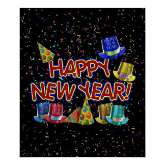 Happy New Years Text w/Party Hats & Confetti Poster