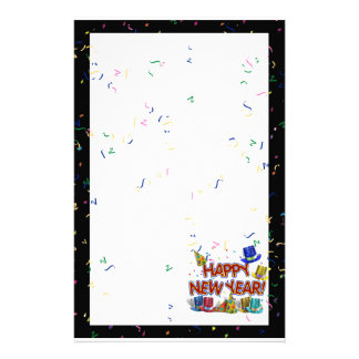 Happy New Years Text w/Party Hats & Confetti Stationery