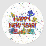Happy New Years Text w/Party Hats & Confetti Classic Round Sticker