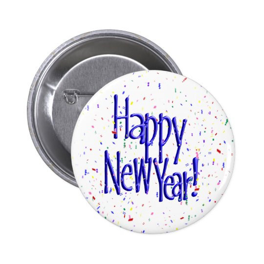 Happy New Year's Text with Confetti Button